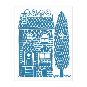 Lisa Jones Studio - wenskaart Little Blue House