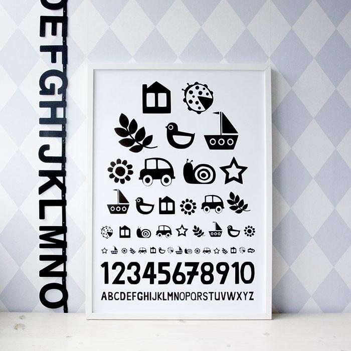 hikje poster oogtest 50 x 70cm. Black Bedroom Furniture Sets. Home Design Ideas